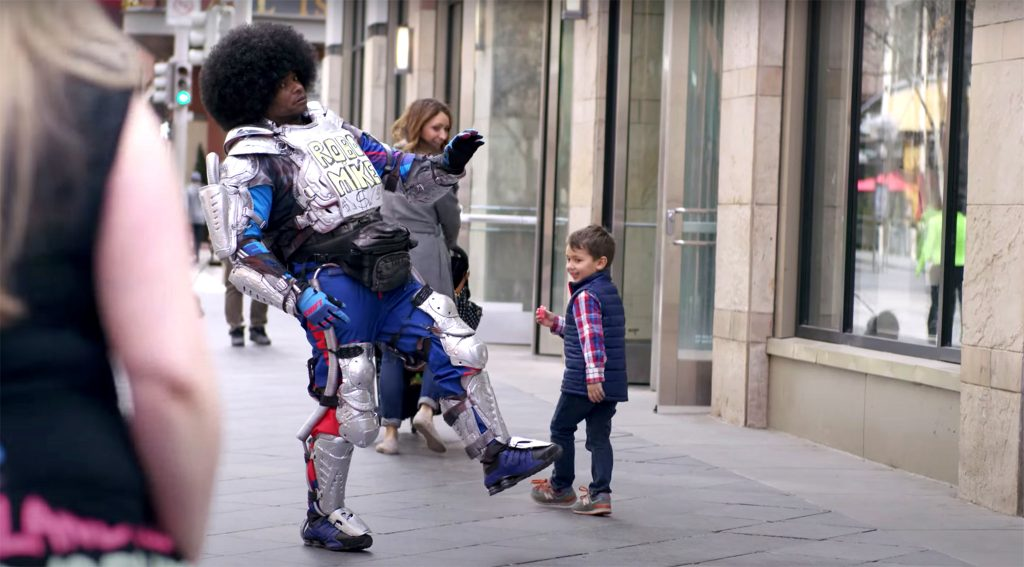 Robo Mike performs on the 16th Street Mall.