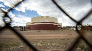 "Xcel Energy's ""Zuni tank farm"" on the edge of Sun Valley. May 13, 2021."