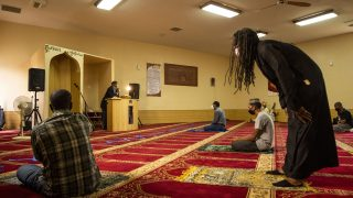 Imam Abdur-Rahim Ali leads an afternoon service at the Northeast Denver Islamic Center. May 14, 2021.