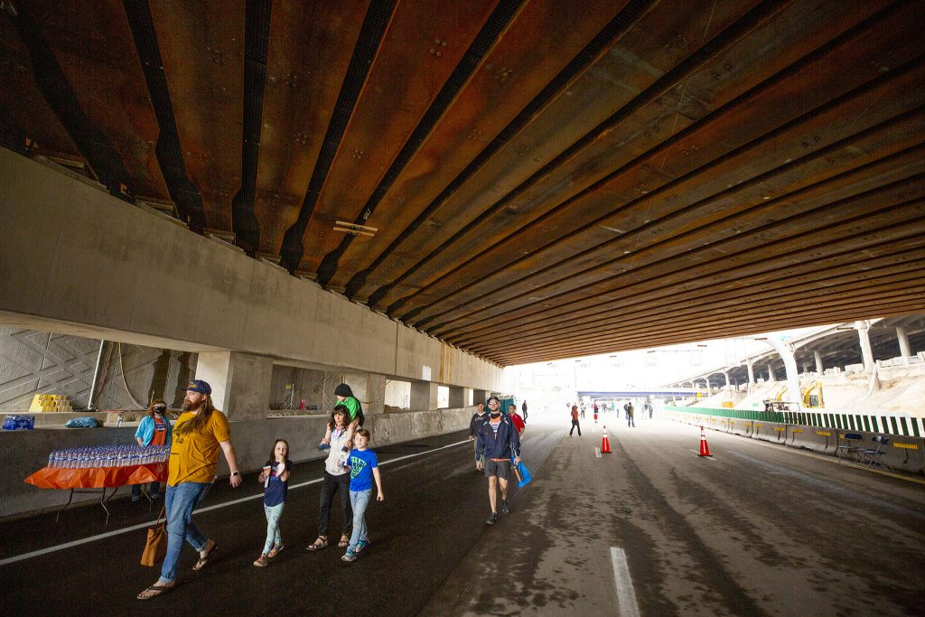 CDOT let people walk on a newly completed stretch of I-70 through Elyria Swansea on May 15, 2021.