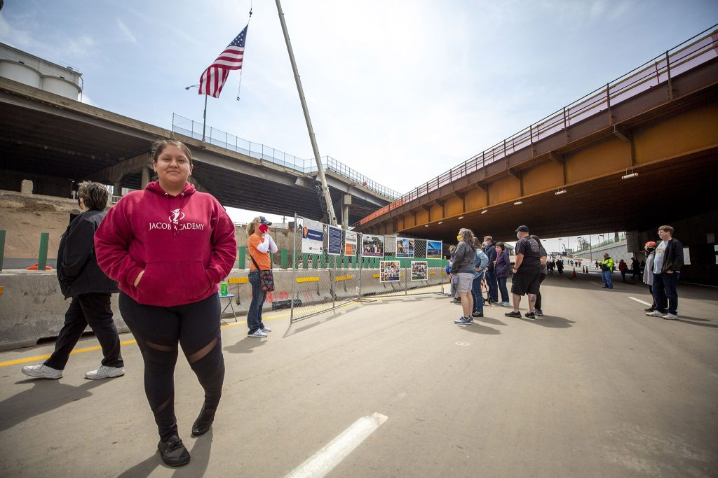 Daisy Carrillo tours a newly completed stretch of I-70 through Elyria Swansea on May 15, 2021.