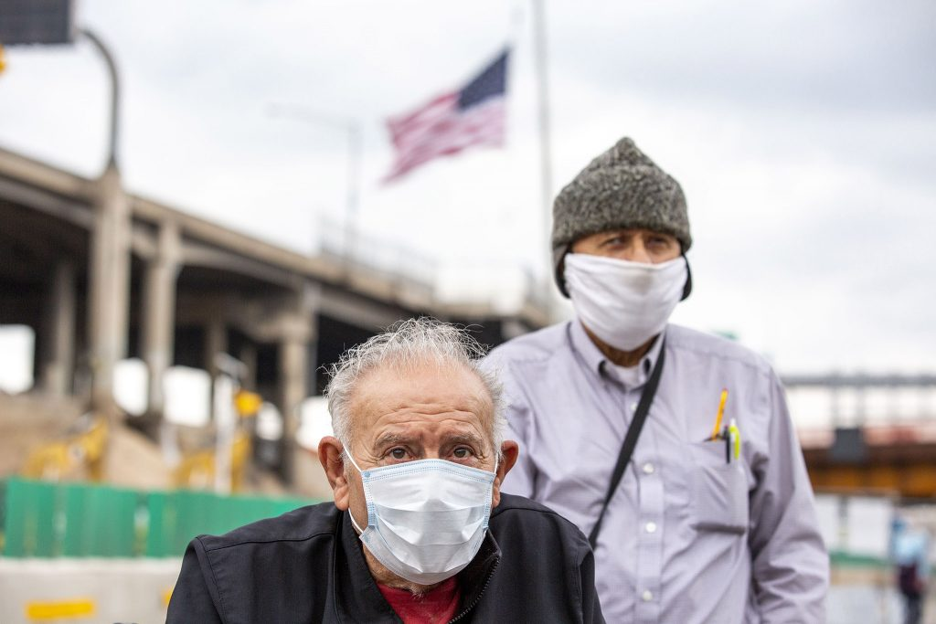 Ernest Martinez (left) toured a newly completed stretch of I-70 through Elyria Swansea with his brother on May 15, 2021.