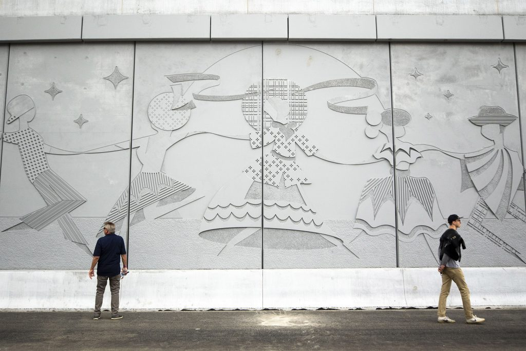 Drivers on a newly completed stretch of I-70 will pass concrete murals like this one as they travel through Elyria Swansea on May 15, 2021.