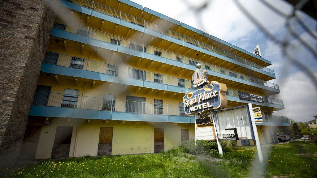 The shuttered Royal Palace Motel at 1565 Colorado Boulevard. May 15, 2021.