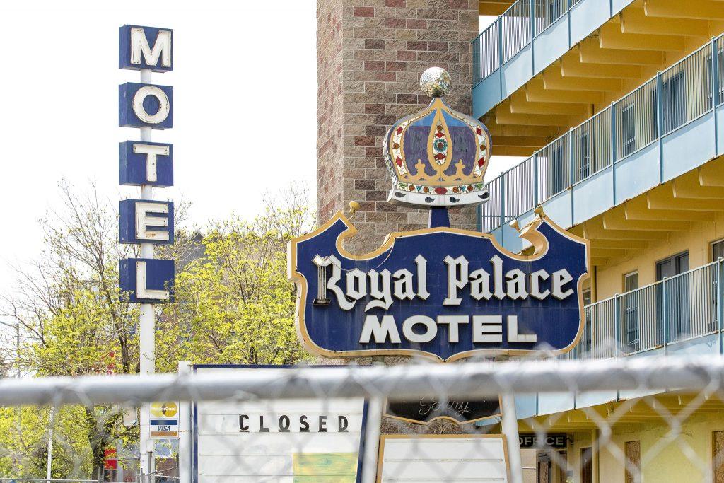 A disco ball tops the sign at the shuttered Royal Palace Motel at 1565 Colorado Boulevard. May 15, 2021.