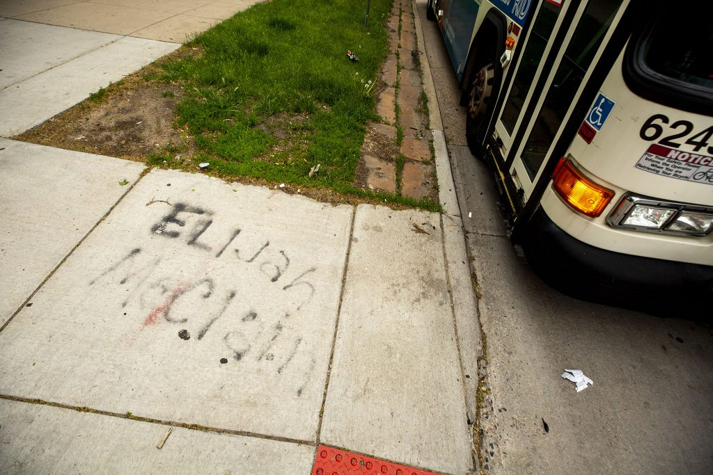 Elijah McClain's name spraypainted on the side of Colfax Avenue by the Colorado State Capitol. May 27, 2021.