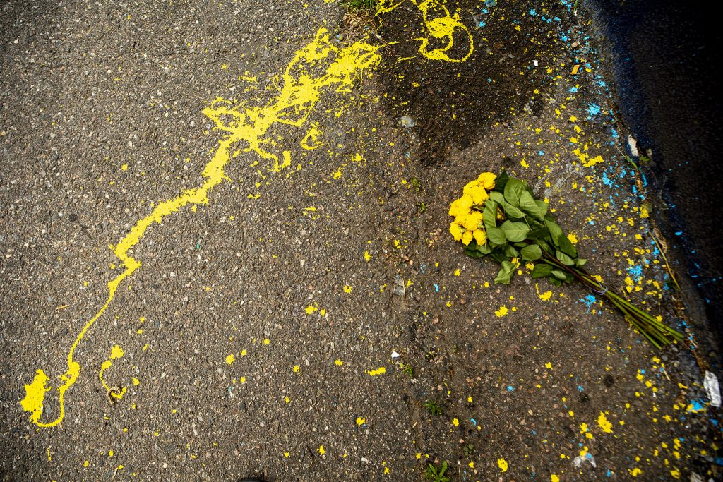 Yellow roses left by Detour and Hiero's mural of George Floyd off East Colfax Avenue. May 27, 2021.