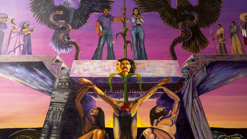 A 1976 mural by Emmanuel Martinez inside the Community College of Denver's Cherry Creek Building on the Auraria Campus. May 27, 2021.