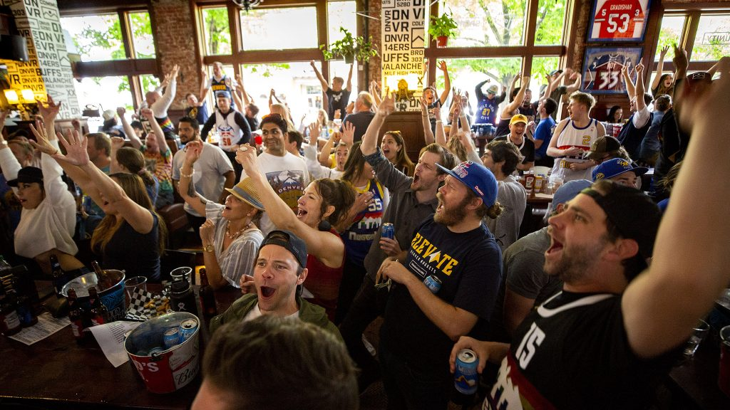 The crowd goes wild for the Denver Nuggets during a playoff watch party at The DNVR Bar on East Colfax Avenue. May 29, 2021.