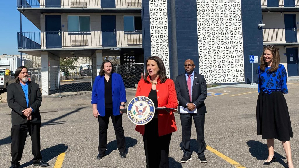 U.S. Rep. Diana DeGette speaks in Denver on Thursday, May, 6, 2021, during an announcement on funding for a hotel to provide housing for people experiencing homelessness. Photo courtesy of Congresswoman DeGette's office.