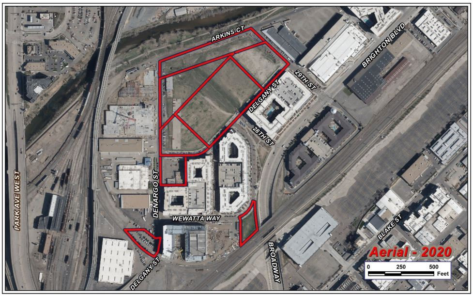An aerial view of the packages in RiNo on Arkins Court, Denargo Street and Wewatta Way as part of the rededication application.  Courtesy of the city's planning office.