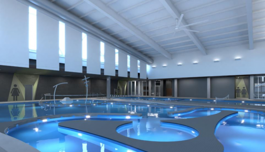 A rendering of the pool coming to Green Valley Ranch Recreation Center. The color of the slides and other amenities has not been solidified.