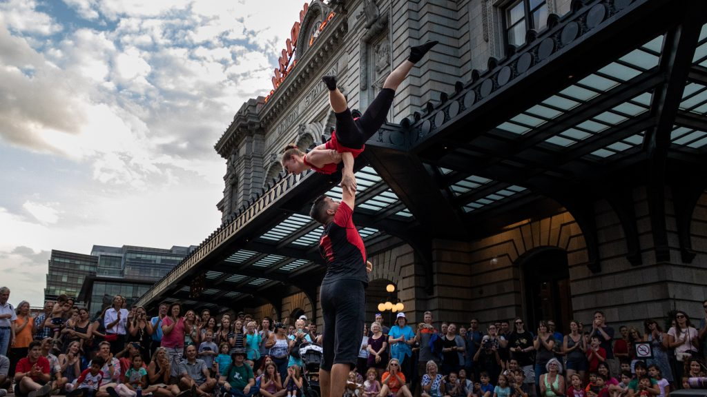 An acrobatic performance at Union Station Buskerfest.