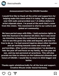 An announcement from the CRUSH Walls founder on May 27, 2021.