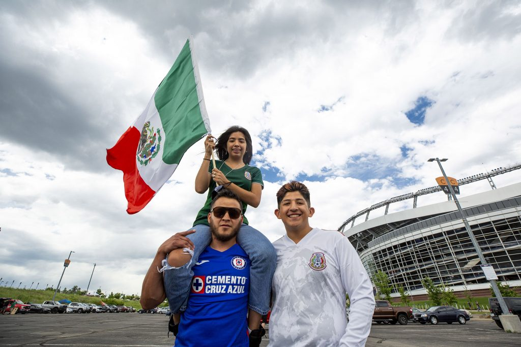 Aldir, Sitlali and Angel Lozano hang in the parking lot outside of Mile High Stadium before the U.S. and Mexico national teams face off in the CONCACAF Nations League finals. June 6, 2021.