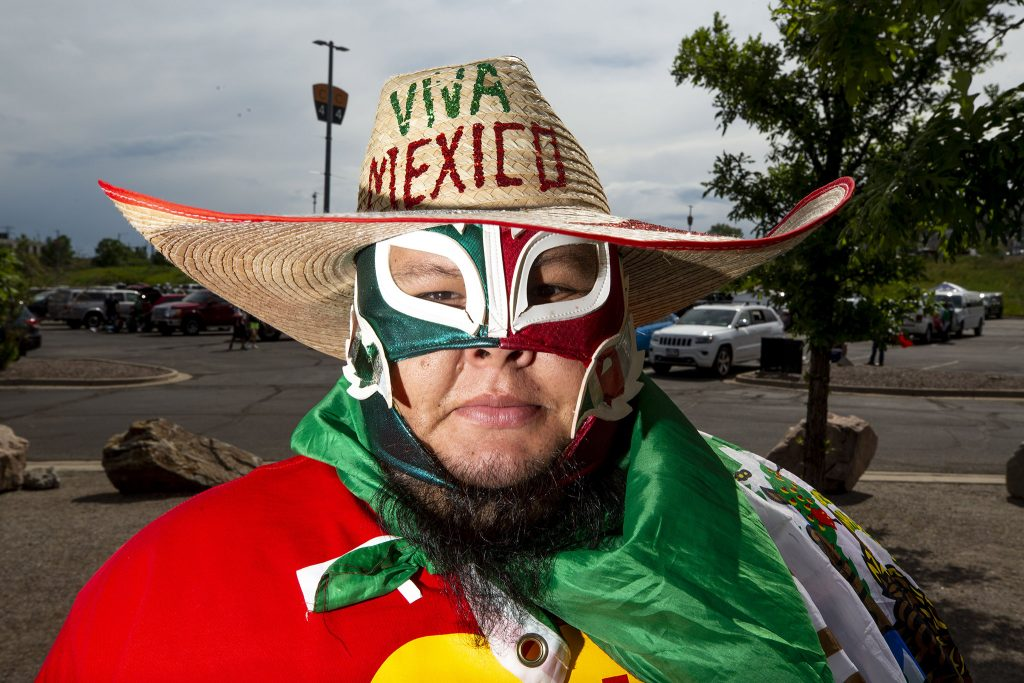 Mario Esparza hangs out in Mile High Stadium's parking lot before the U.S. and Mexico national teams face off in the CONCACAF Nations League finals. June 6, 2021.