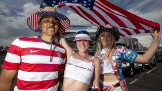 Devaughn Dix (left to right), Zoie Holloway and Kate Olson tailgate before the U.S. and Mexico national teams face off in the CONCACAF Nations League finals at Mile High Stadium. June 6, 2021.