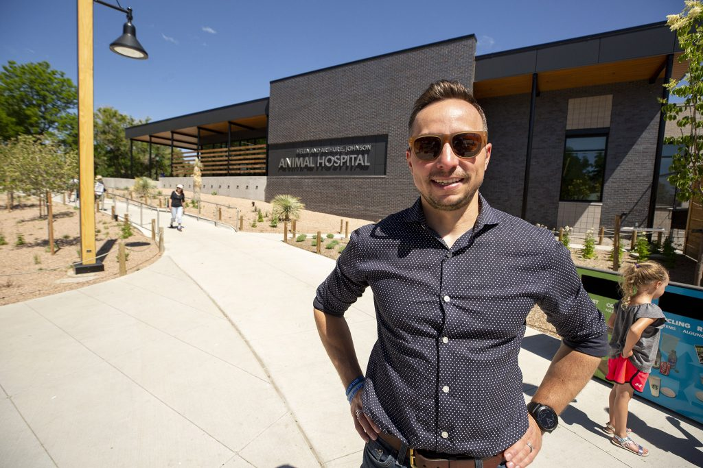 Dominic Weilminster, designer and principal with Stantec Architecture Inc., stands in front of the new Denver Zoo hospital he helped create. June 12, 2021.