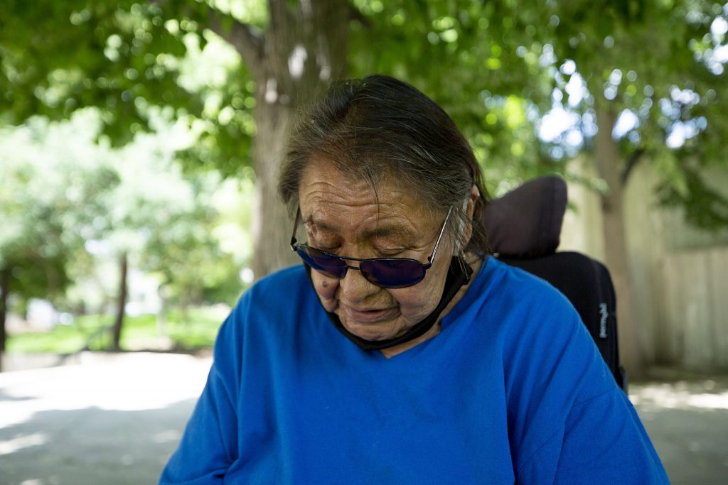 Phyllis Garnier attends the Carla Respects Nothing discussion group in Governor's Park.  06/10/2021.