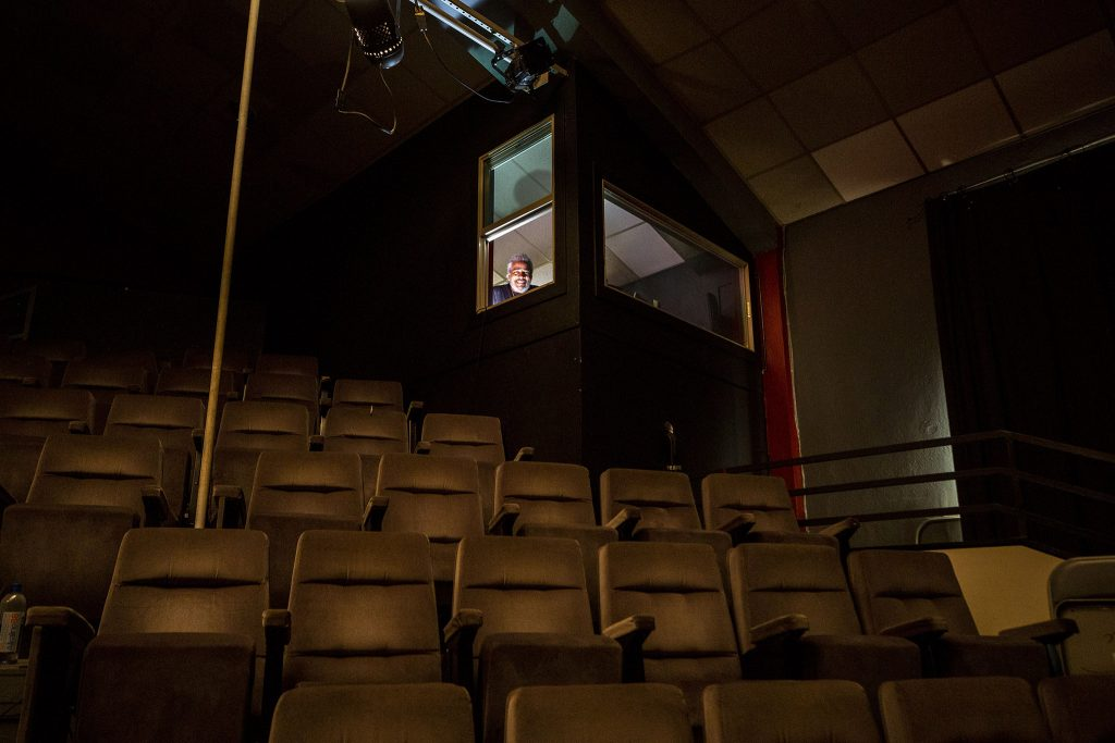 Trey Grimes, theatre and technology director with Cleo Parker Robinson Dance, stands in his tech booth above the company's main stage. June 11, 2021.