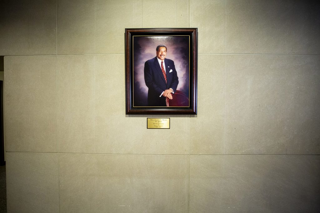 A portrait of Wellington Webb in the municipal building bearing his name. June 11, 2021.