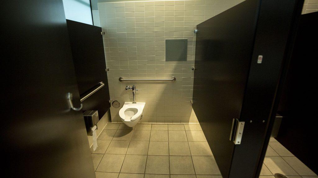 Inside the standard bathroom at the municipal building bearing Wellington Webb's name. June 11, 2021.