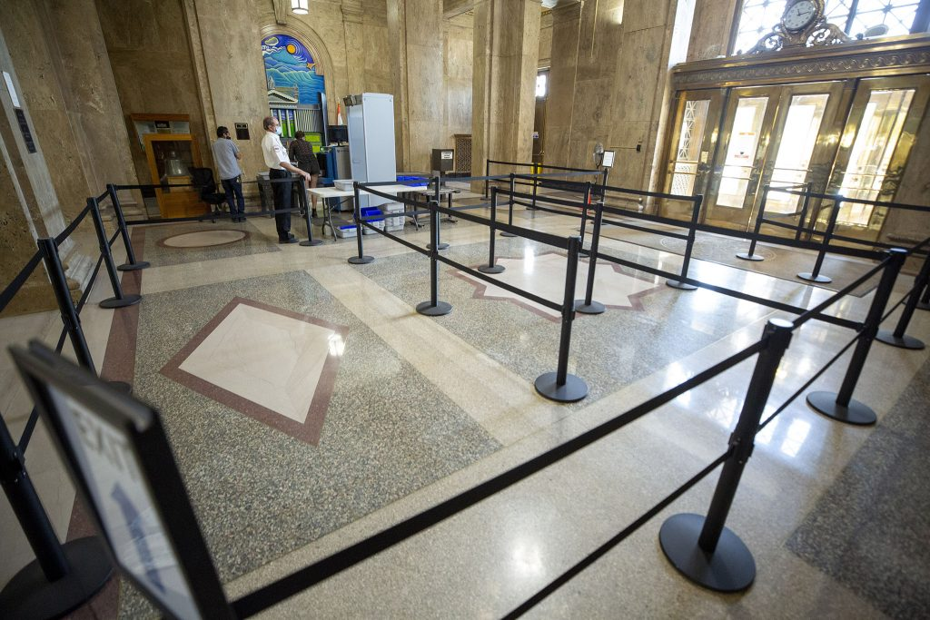 Those who wish to use the facilities inside the City and County Building must first pass through a metal detector. June 11, 2021.