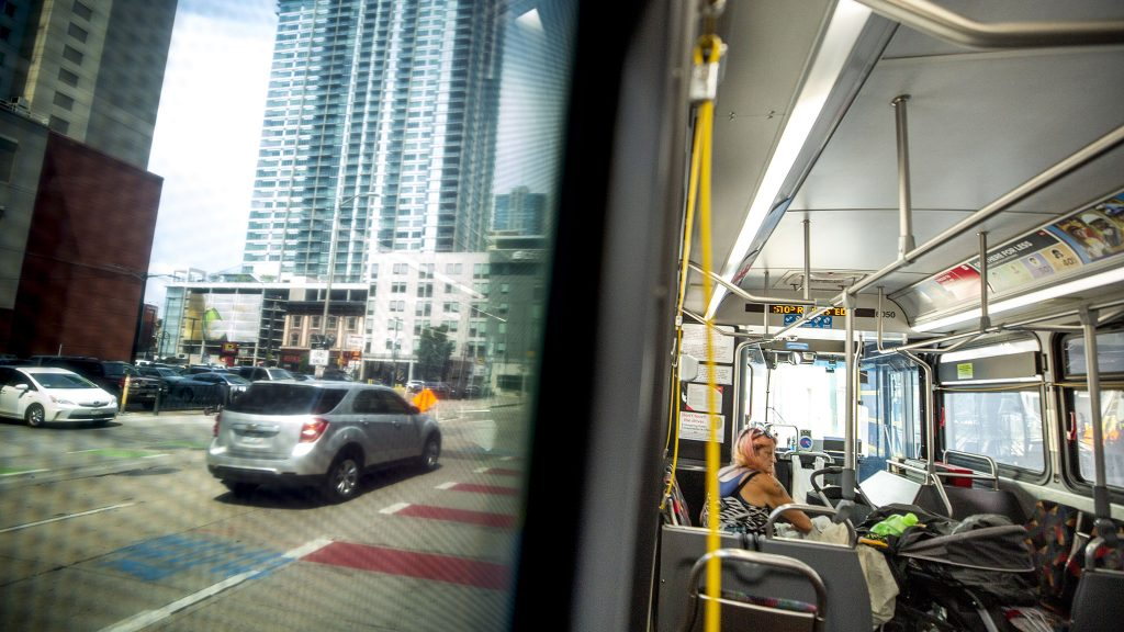A ride toward Union station on RTD's number 15 bus. June 16, 2021.