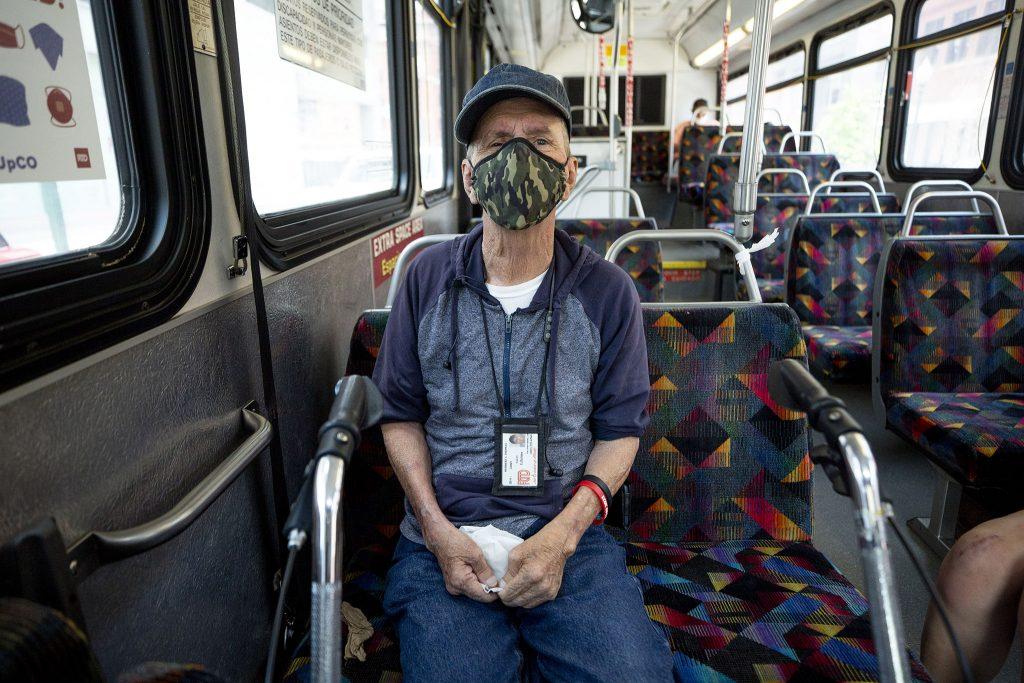 Herbert Thomas rides RTD's number 15 bus toward Union Station. June 16, 2021.