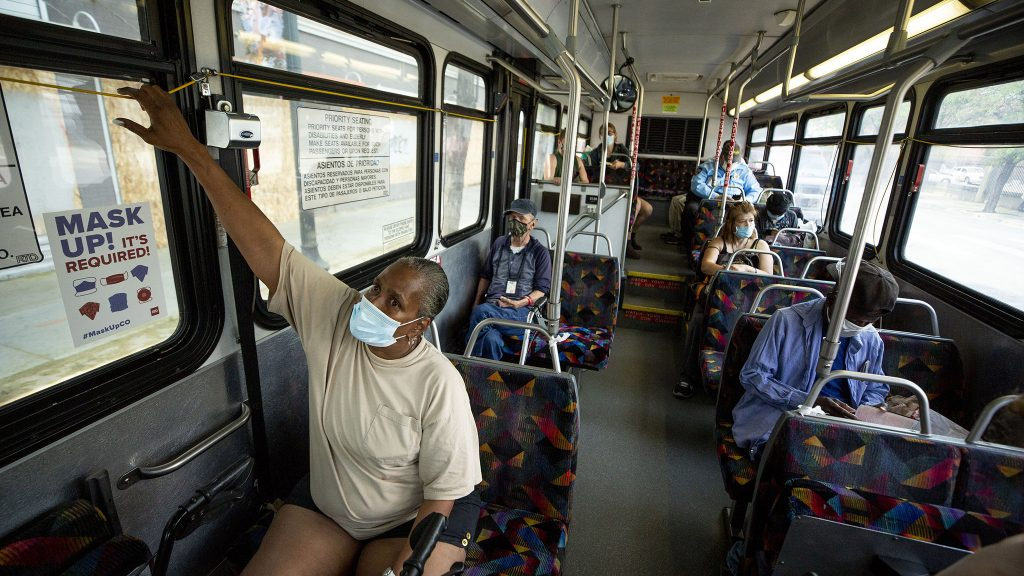 Jacqueline Lawrence pulls the stop cords as RTD's number 15 bus heads east. June 16, 2021.