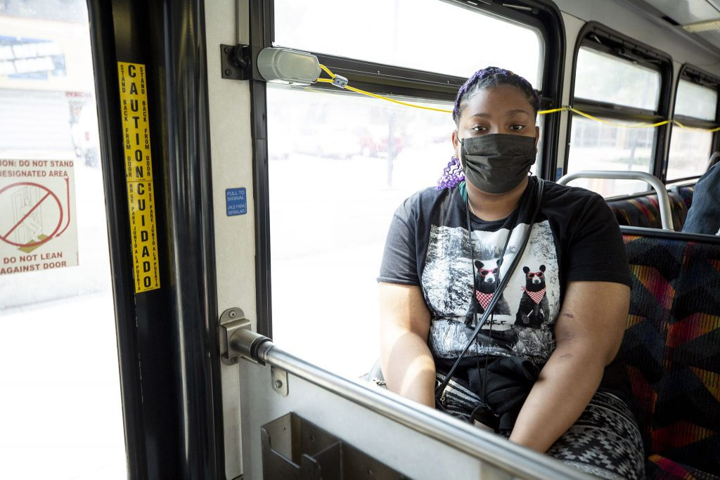 Kayla Wilkins rides RTD's eastbound 15 bus. June 16, 2021.
