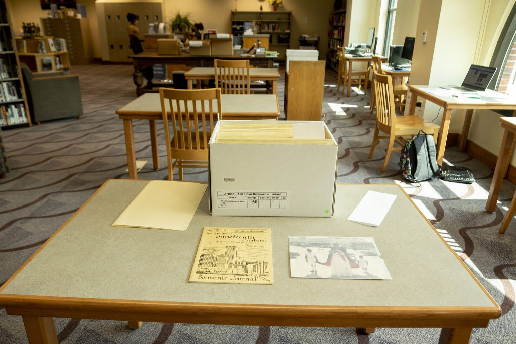 A box of Five Points Business Association records inside the research room at the Blair-Caldwell African American Research Library. June 17, 2021.