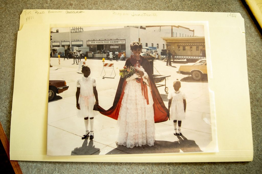 A photo of Ms. Juneteenth 1984, found in a box of Five Points Business Association records at the Blair-Caldwell African American Research Library. June 17, 2021.