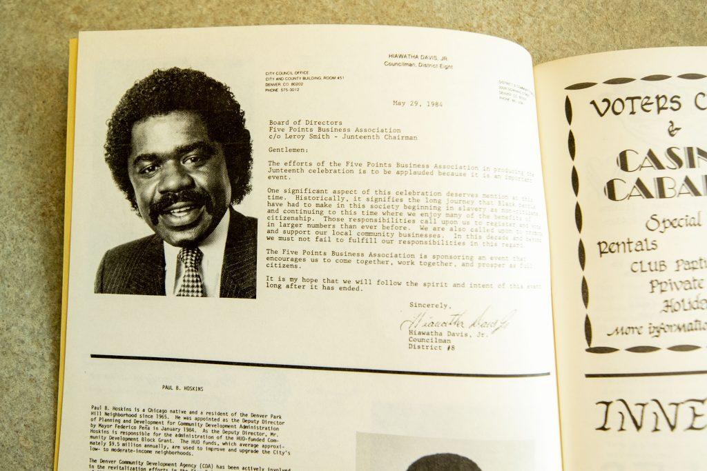 City Council member Hiawatha Davis, Jr.'s address to Juneteenth celebrants in a 1984 program guide.