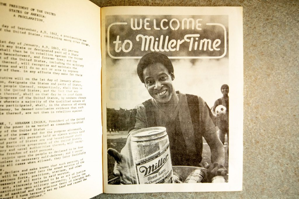 National brands like Miller High Life appeared in program booklets with ads tailored to their audiences.