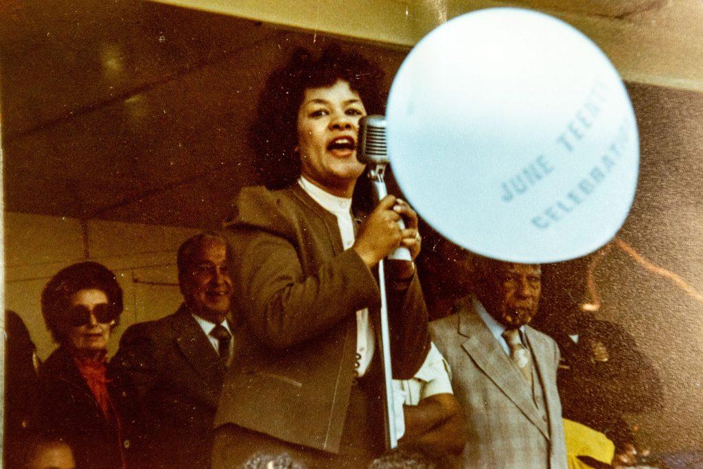 State Rep. Wilma Webb speaks at Juneteenth 1983.