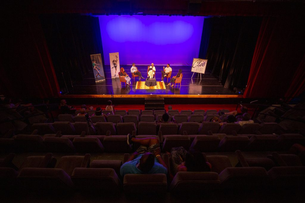 A panel discussion about race and the arts inside Cleo Parker Robinson Dance's theater on Juneteenth. June 19, 2021.