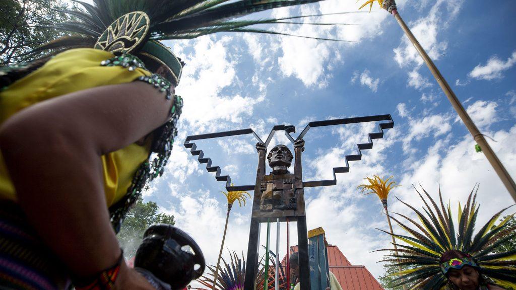 """Artist Emanuel Martinez's new sculpture, """"La Raza Unida,"""" a tribute to La Raza Park and the city's Chicano activists. Sunnyside, June 20, 2021."""