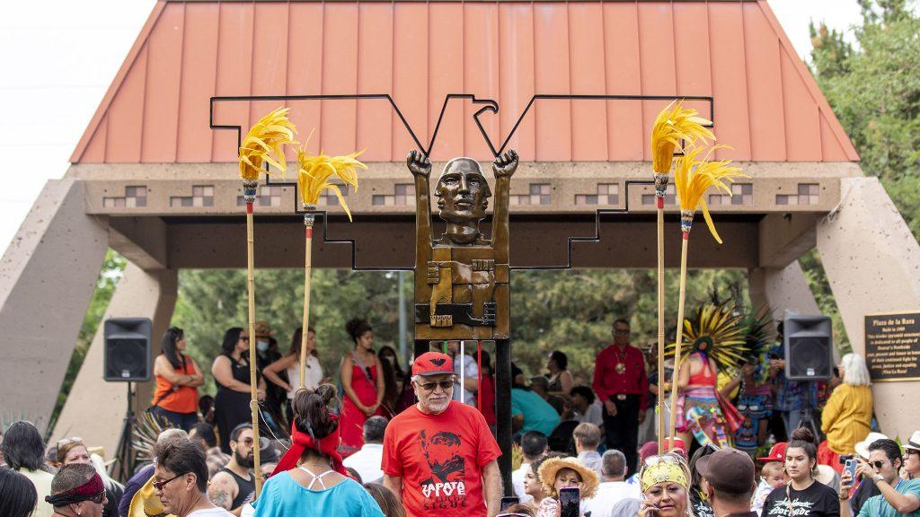 Artist Emanuel Martinez unveils his new sculpture, a tribute to La Raza Park and the city's Chicano activists. Sunnyside, June 20, 2021.