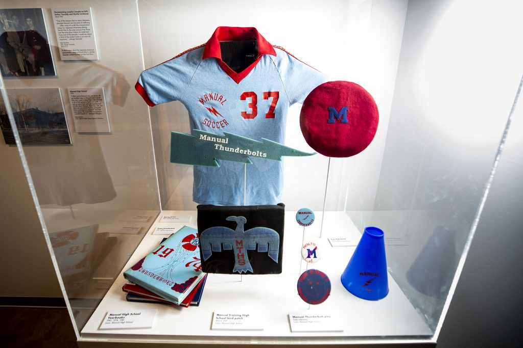 Manual High School gear inside the Five Points Plus: Neighborhood Memory Project exhibit at the History Colorado Center. June 23, 2021.