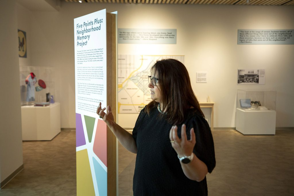 Dawn DiPrince, History Colorado's chief operating officer, stands inside the new Five Points Plus: Neighborhood Memory Project exhibit. June 23, 2021.