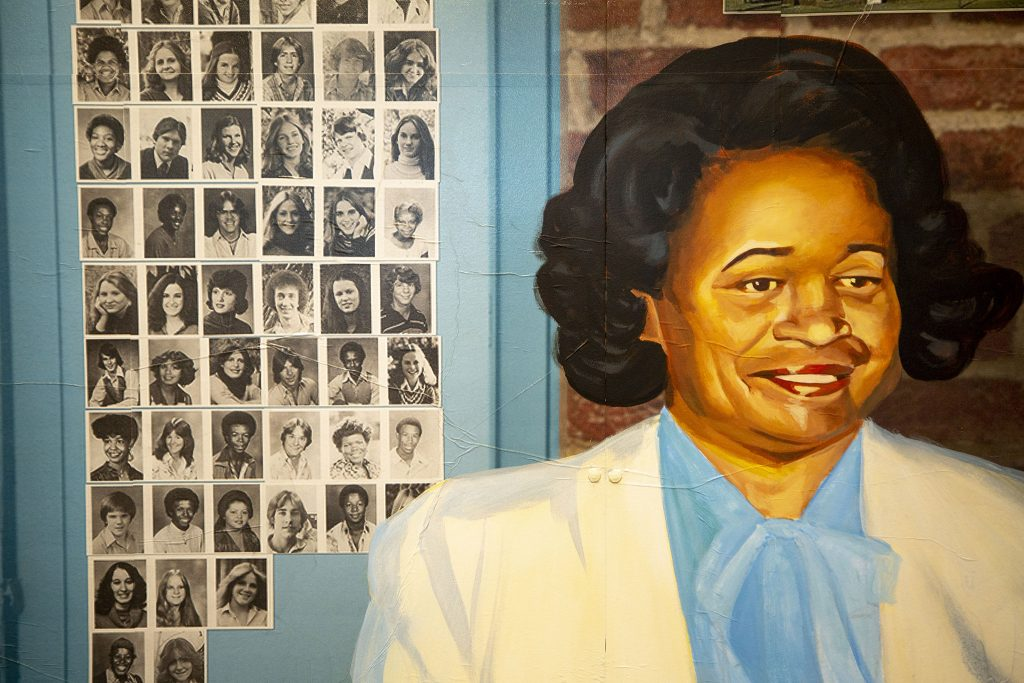 A detail of Adri Norris' mural inside the Five Points Plus: Neighborhood Memory Project at the History Colorado Center. June 23, 2021.