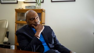 Phil Washington, candidate to become CEO of Denver International Airport, sits in an office in the City and County Building. June 23, 2021.