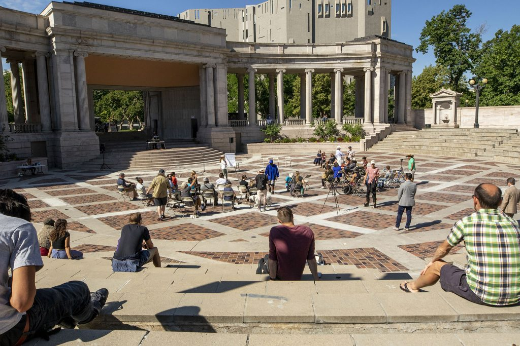A regular meeting of city officials and people experiencing homelessness at Civic Center Park. June 30, 2021.