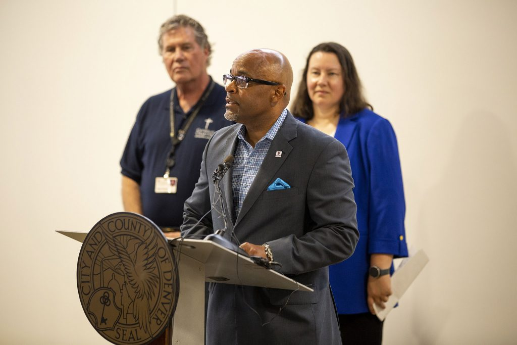 Mayor Michael Hancock speaks during an opening press conference for a new Denver Rescue Mission shelter in Northeast Park Hill. June 30, 2021.