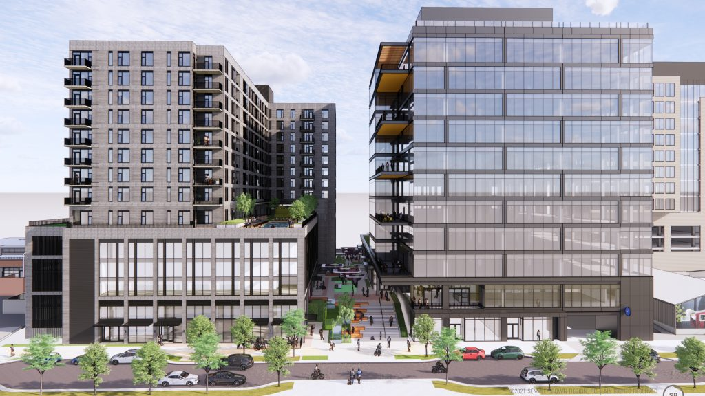 A rendering of the residential and office buildings that will be phase 1 of Hurley Place. (Courtesy of Semple Brown)