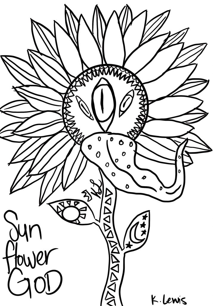 A coloring book page designed by a student from the Voz y Corazón program.