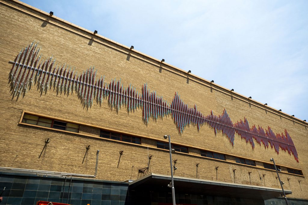 """""""Resonance,"""" by Brian Brush, on the outside of DCPA's Buell Theater, probably looks better at night. July 7, 2021."""