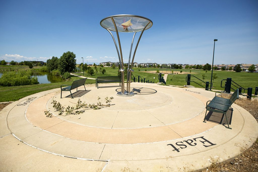 """""""True West,"""" by Nick Geurts and Ryan Elmendorf at Green Valley Ranch Town Center Park. July 7, 2021."""