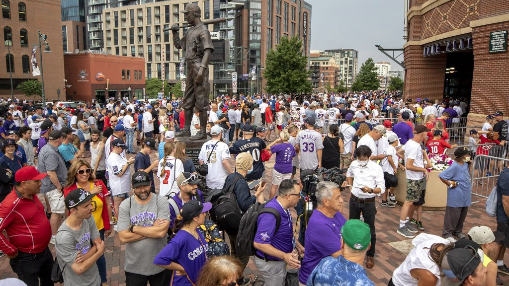 Crowds pour into Coors Field before the MLB All-Star Game. July 13, 2021.